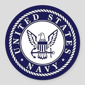 US Navy Emblem Blue White Round Car Magnet