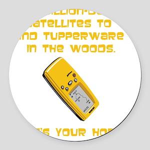 GeoCache Tupperware Yellow Round Car Magnet