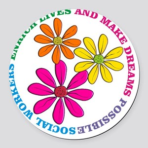 SOCIAL WORKER CIRCLE DAISIES Round Car Magnet