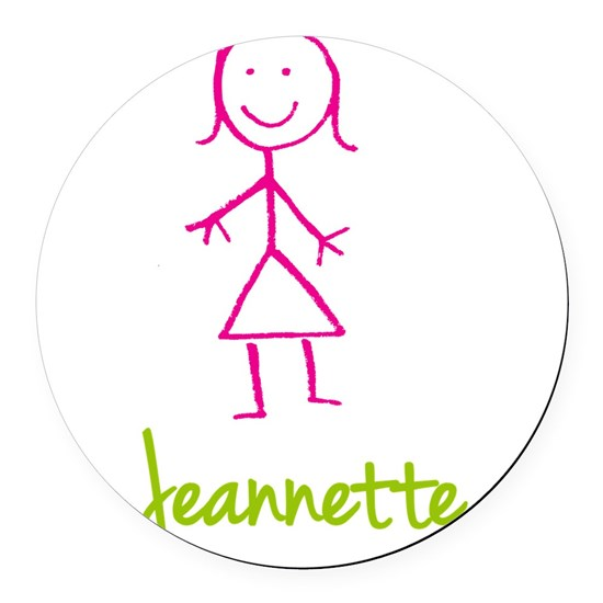 Jeannette-cute-stick-girl Round Car Magnet