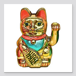 "Lucky cat, Maneki-neko Square Car Magnet 3"" x 3"""