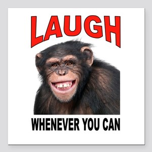 "LAUGH Square Car Magnet 3"" x 3"""