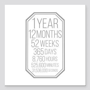 "1 Year (Gray Chevron) Square Car Magnet 3"" x 3"""