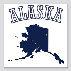"Alaska Map Design Square Car Magnet 3"" x 3"""