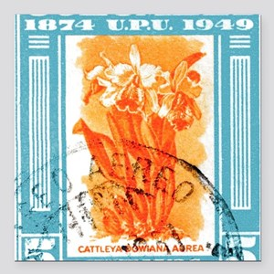 "1949 Colombia Cattleya O Square Car Magnet 3"" x 3"""