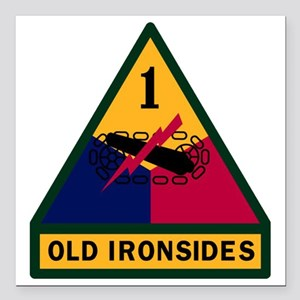 "1st Armored Division Square Car Magnet 3"" x 3"""