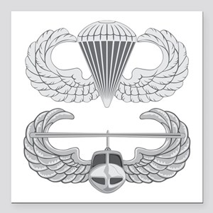 "Airborne Air Assault Square Car Magnet 3"" x 3"""
