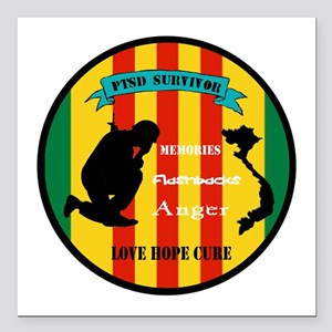 "Vietnam PTSD Survivor Square Car Magnet 3"" x 3"""