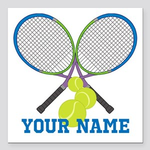 "Personalized Tennis Player Square Car Magnet 3"" x"