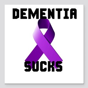 "Dementia Sucks Square Car Magnet 3"" X 3"""