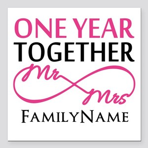 "1st anniversary Square Car Magnet 3"" x 3"""