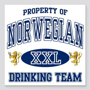 "Norwegian Drinking Team Square Car Magnet 3"" x 3"""