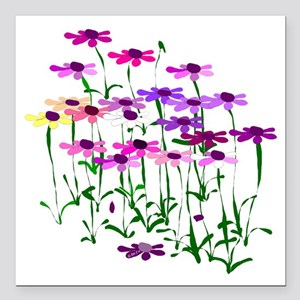 "Wildflowers Square Car Magnet 3"" x 3"""