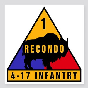 "1AD_4-17_INFANTRY Recond Square Car Magnet 3"" x 3"""