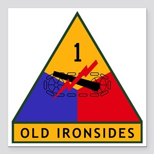 "1st_US_Armored_Division_ Square Car Magnet 3"" x 3"""