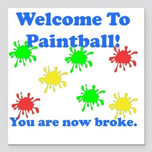 "Paintball Broke Blue Square Car Magnet 3"" x 3"""