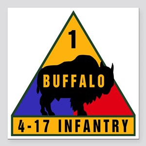 "1AD_4-17_INFANTRY II Square Car Magnet 3"" x 3"""