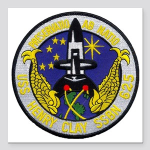 "uss henry clay patch tra Square Car Magnet 3"" x 3"""