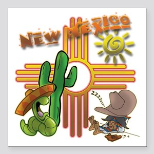 "New Mexico Tequila Worm Square Car Magnet 3"" x 3"""