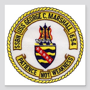 "uss george c. marshall p Square Car Magnet 3"" x 3"""
