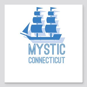 "Mystic Connecticut Square Car Magnet 3"" x 3"""