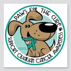 "Paws-for-the-Cure-Ovaria Square Car Magnet 3"" x 3"""