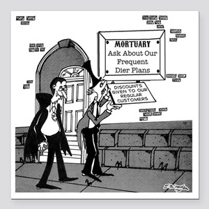 "5199_mortuary_cartoon Square Car Magnet 3"" x 3"""