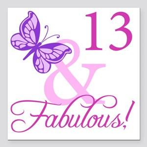 "Fabulous 13th Birthday F Square Car Magnet 3"" x 3"""