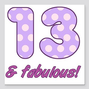 "13th Birthday Dots Square Car Magnet 3"" x 3"""