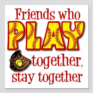 "PLAY TOGETHER Square Car Magnet 3"" x 3"""
