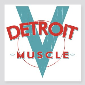 "Detroit Muscle red n blu Square Car Magnet 3"" x 3"""