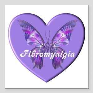 "FIBRO BUTTERFLY HEART Square Car Magnet 3"" x 3"""