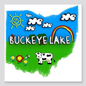 "Buckeye Lake Square Car Magnet 3"" x 3"""