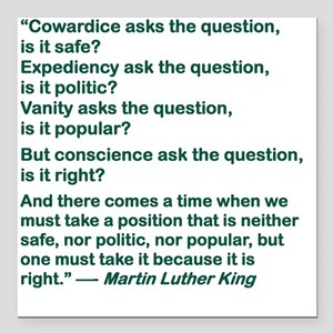 "COWARDICE ASKS THE QUEST Square Car Magnet 3"" x 3"""