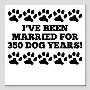 "50th Anniversary Dog Years Square Car Magnet 3"" x"