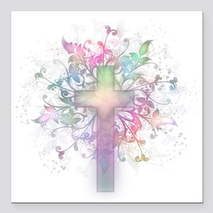 "Rainbow Floral Cross Square Car Magnet 3"" x 3"""