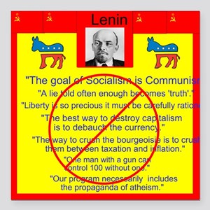 "Lenin quotes Square Car Magnet 3"" x 3"""