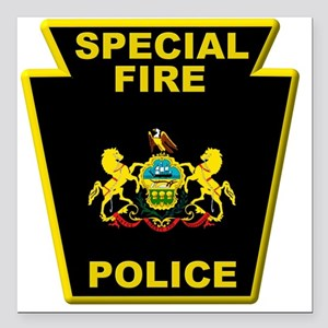 "Fire police badge Square Car Magnet 3"" x 3"""