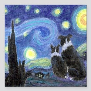 "Starry Night for tile co Square Car Magnet 3"" x 3"""