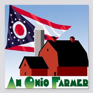 "OH-Farmer-4 Square Car Magnet 3"" x 3"""