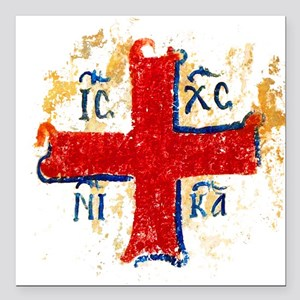 "Greek Cross IC XC NIKA Square Car Magnet 3"" x 3"""