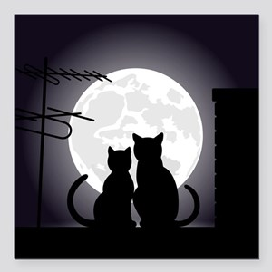 "Two cats one moon Square Car Magnet 3"" x 3"""
