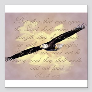 "Wings as Eagles Bible Ve Square Car Magnet 3"" x 3"""