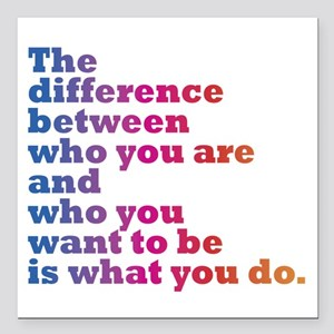 "The Difference (blue/pin Square Car Magnet 3"" x 3"""