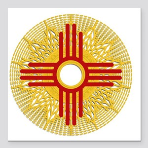"SUNBURST ZIA Square Car Magnet 3"" x 3"""