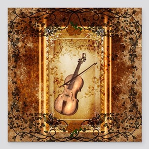 "Wonderful violin on a frame Square Car Magnet 3"" x"
