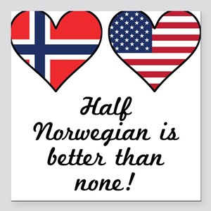 Half Norwegian Is Better Than None Square Car Magn