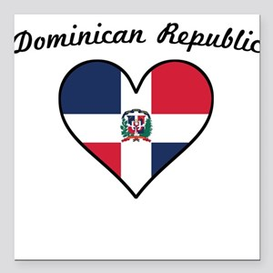 Dominican Republic Flag Heart Square Car Magnet 3""