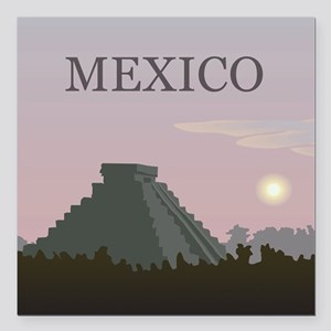 "Vintage Mexico Sunset Square Car Magnet 3"" x 3"""