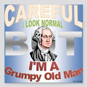 "Grumpy Old Man Square Car Magnet 3"" x 3"""